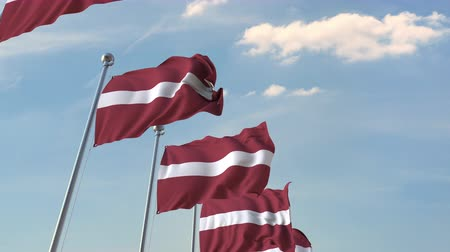 라트비아 : Row of waving flags of Latvia. Loopable 3D animation