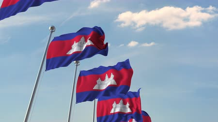 kamboçyalı : Many waving flags of Cambodia. Loopable 3D animation