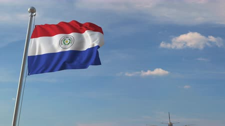 chegar : Airliner passing above national flag of Paraguay. Paraguayan air transportation related 3D animation Vídeos