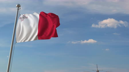 chegar : Airplane flying over flag of Malta. Maltese tourism related 3D animation