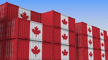 canadense : Container terminal full of containers with flag of Canada. Canadian export or import related loopable 3D animation