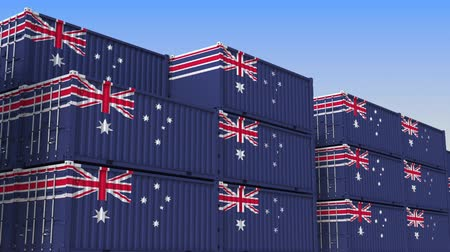 shipping : Container yard full of containers with flag of Australia. Australian export or import related loopable 3D animation