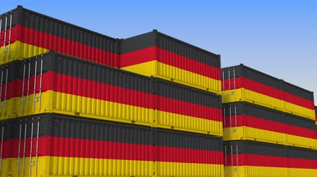 tengeri kikötő : Container terminal full of containers with flag of Germany. German export or import related loopable 3D animation
