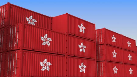 container terminal : Container terminal full of containers with flag of Hong Kong. Export or import related loopable 3D animation Stock Footage
