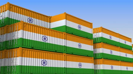 národní vlajka : Container terminal full of containers with flag of India. Indian export or import related loopable 3D animation