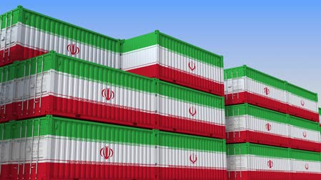 produkt : Container terminal full of containers with flag of Iran. Iranian export or import related loopable 3D animation