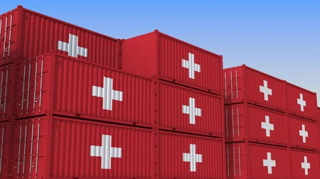 suíço : Container terminal full of containers with flag of Switzerland. Swiss export or import related loopable 3D animation
