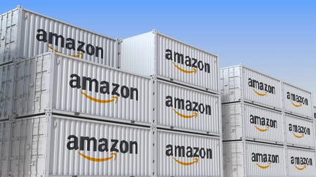 amazonka : Container yard full of containers with logo of Amazon. Shipment, export or import related loopable editorial 3D animation