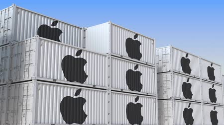 amazonka : Container yard full of containers with logo of Apple Inc. Shipment, export or import related loopable editorial 3D animation Wideo