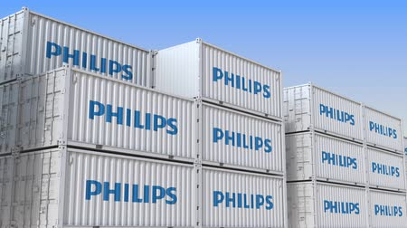 海港 : Container terminal full of containers with logo of Philips. Shipment, export or import related loopable editorial 3D animation