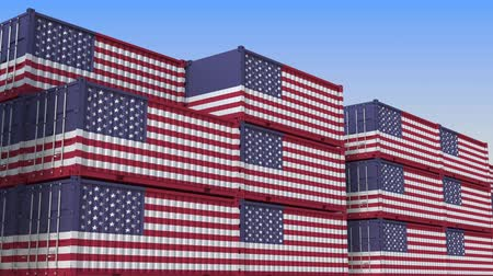empregos : Container terminal full of containers with flag of the USA. American export or import related loopable 3D animation Stock Footage