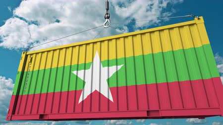 mianmar : Cargo container with flag of Myanmar. Myanmar import or export related conceptual 3D animation Stock Footage