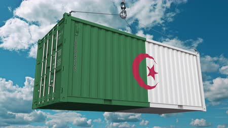 handling : Loading container with flag of Algeria. Algerian import or export related conceptual 3D animation