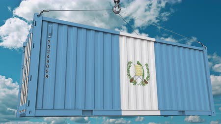 rakomány : Cargo container with flag of Guatemala. Guatemalan import or export related conceptual 3D animation Stock mozgókép