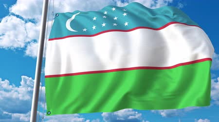깃대 : National flag of Uzbekistan on sky background. 3D animation 무비클립