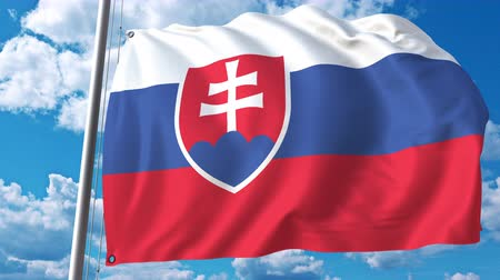 깃대 : Flag of Slovakia on sky background. 3D animation