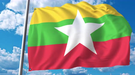 mianmar : Waving flag of Myanmar on sky background. 3D animation