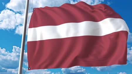 şaft : Waving flag of Latvia on sky background. 3D animation