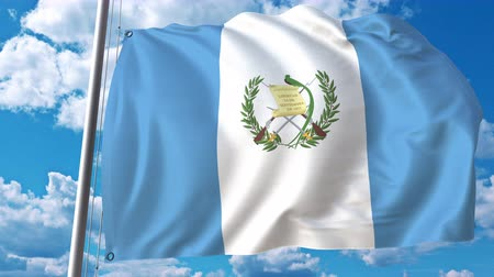 깃대 : Waving flag of Guatemala on sky background. 3D animation