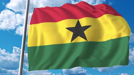 깃대 : National flag of Ghana on sky background. 3D animation