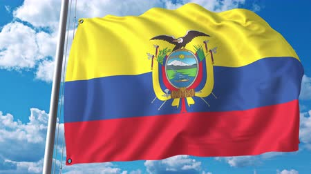 깃대 : Flying flag of Ecuador on sky background. 3D animation