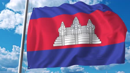 cambojano : Waving flag of Cambodia on sky background. 3D animation Vídeos