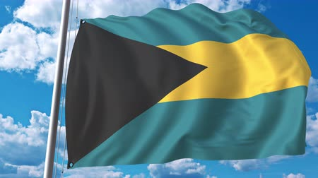 깃대 : Flying flag of Bahamas on sky background. 3D animation 무비클립