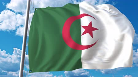 algeria : National flag of Algeria on sky background. 3D animation