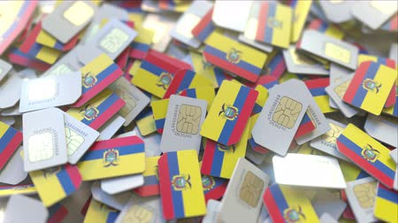 subscriber : Many SIM cards with flag of Ecuador. Ecuadorian mobile telecommunications related 3D animation