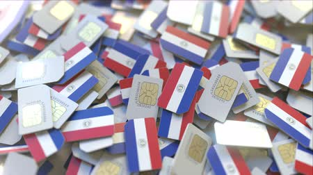 gsm : Many SIM cards with flag of Paraguay. Paraguayan mobile telecommunications related 3D animation Stock Footage