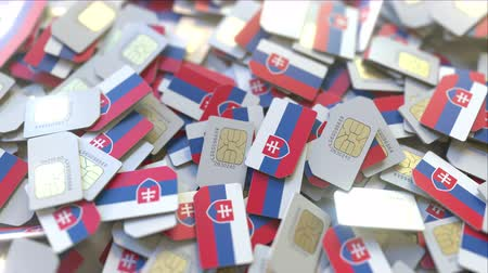 abbonamento : Many SIM cards with flag of Slovakia. Slovak mobile telecommunications related 3D animation