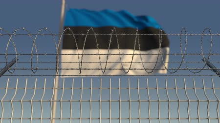 prikkeldraad : Waving flag of Estonia behind barbed wire fence. Conceptual loopable 3D animation Stockvideo