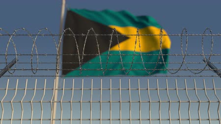 farpado : Flying flag of Bahamas behind barbed wire fence. Conceptual loopable 3D animation Stock Footage