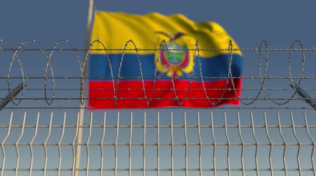 prikkeldraad : Flying flag of Ecuador behind barbed wire fence. Conceptual loopable 3D animation