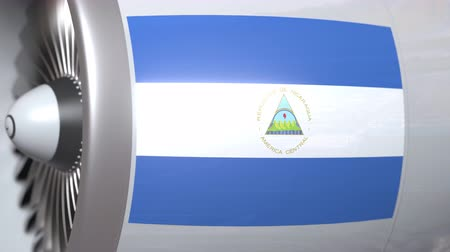 nicaraguan : Waving flag of Nicaragua on airplane tourbine engine. Aviation related 3D animation
