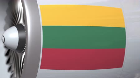 flag of lithuania : Waving flag of Lithuania on airliner tourbine engine. Aviation related 3D animation