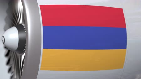 armenia : Many waving flag of Armenia on airliner tourbine engine. Aviation related 3D animation