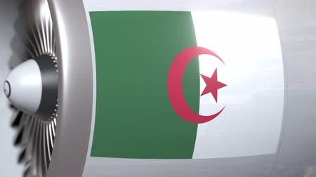 algeria : National flag of Algeria on airplane tourbine engine. Aviation related 3D animation Stock Footage
