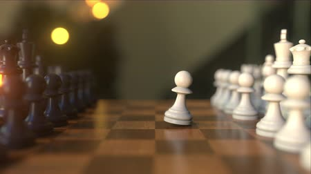 pieza de ajedrez : Chess game. The first two pawn moves. Chessboard close-up, realistic 3D animation