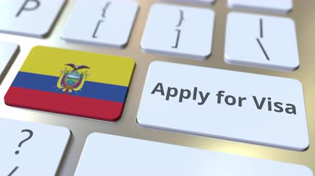 immigratie : APPLY FOR VISA text and flag of Ecuador on the buttons on the computer keyboard. Conceptual 3D animation
