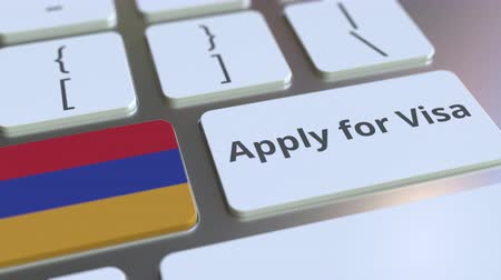 immigratie : APPLY FOR VISA text and flag of Armenia on the buttons on the computer keyboard. Conceptual 3D animation