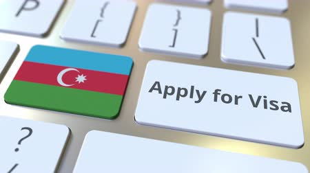 виза : APPLY FOR VISA text and flag of Azerbaijan on the buttons on the computer keyboard. Conceptual 3D animation