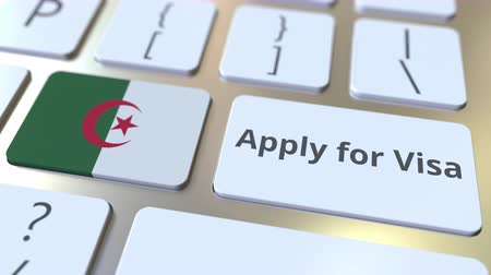 algeria : APPLY FOR VISA text and flag of Algeria on the buttons on the computer keyboard. Conceptual 3D animation