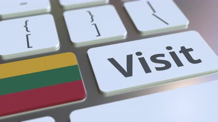 flag of lithuania : VISIT text and flag of Lithuania on the buttons on the computer keyboard. Conceptual 3D animation