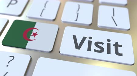 algeria : VISIT text and flag of Algeria on the buttons on the computer keyboard. Conceptual 3D animation Stock Footage
