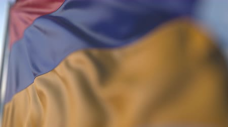 flapping : Waving flag of Armenia, shallow focus close-up. Realistic loopable 3D animation