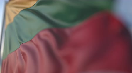 flag of lithuania : Waving flag of Lithuania, shallow focus close-up. Realistic loopable 3D animation Stock Footage