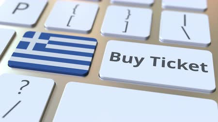 greek flag : BUY TICKET text and flag of Greece on the buttons on the computer keyboard. Travel related conceptual 3D animation