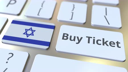 jewish people : BUY TICKET text and flag of Israel on the buttons on the computer keyboard. Travel related conceptual 3D animation Stock Footage