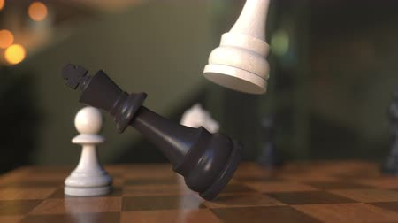 perdedor : Checkmate or mate in chess game. Chessboard close-up, realistic 3D animation